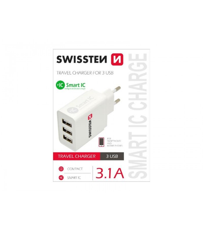 Adaptér sieťový SWISSTEN SMART IC 3x USB 3,1A POWER BIELY