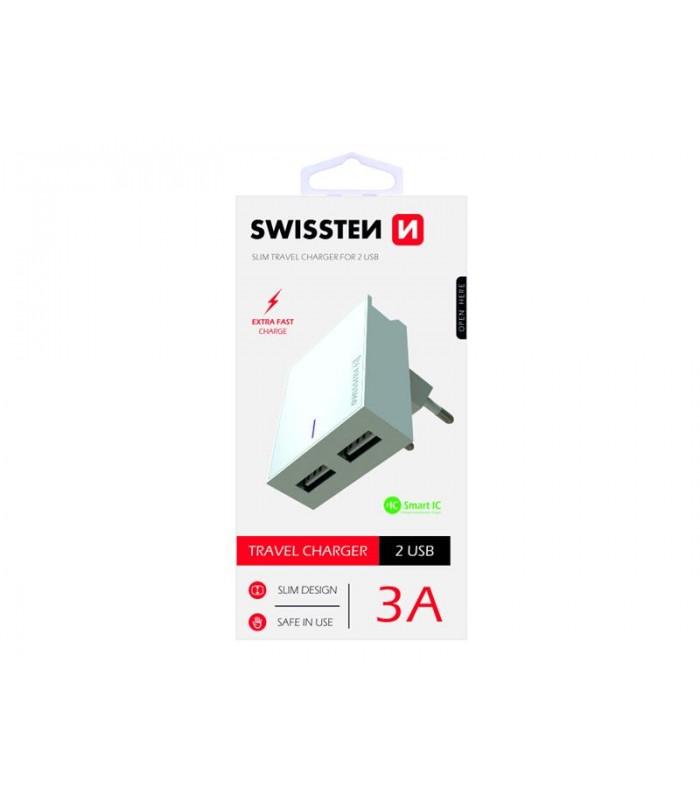 Adaptér sieťový SWISSTEN SMART IC 2x USB 3A POWER BIELY
