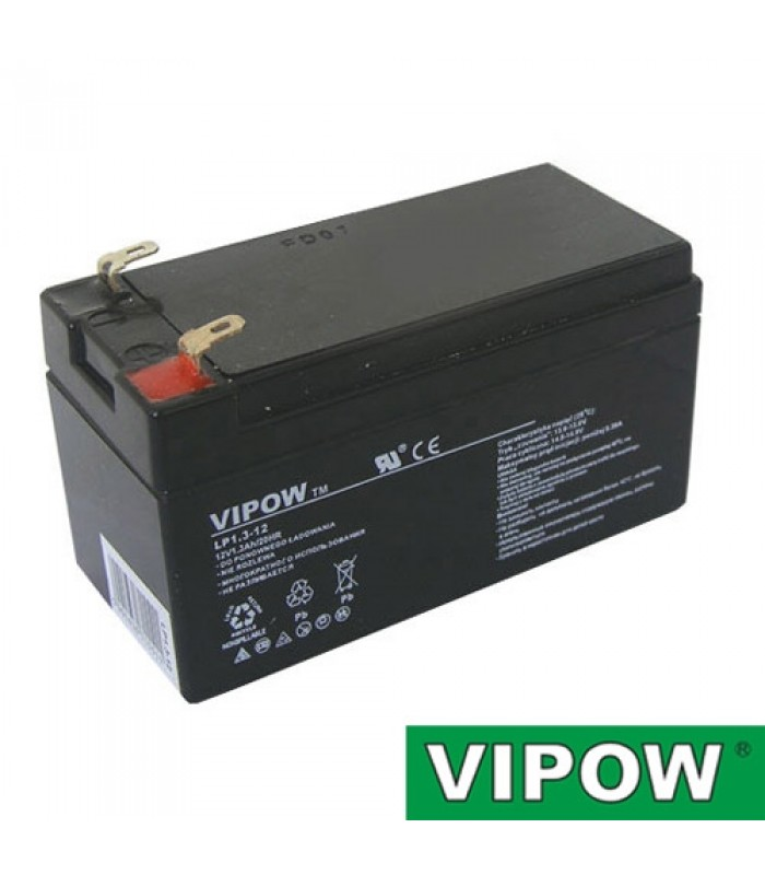 Batéria olovená 12V/ 1.3Ah VIPOW bezúdržbový akumulátor