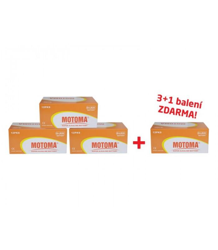Balíček 3+1 Batéria D (R20) alkalická MOTOMA Ultra Alkaline (4 krabice 04270217)