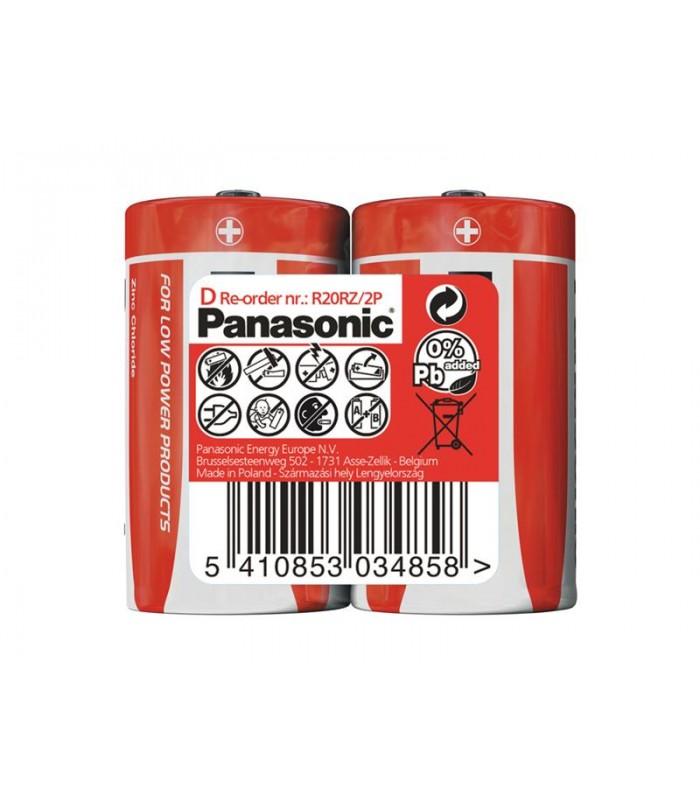 Batéria R20 (D) Red zinkouhlíková, PANASONIC 2S