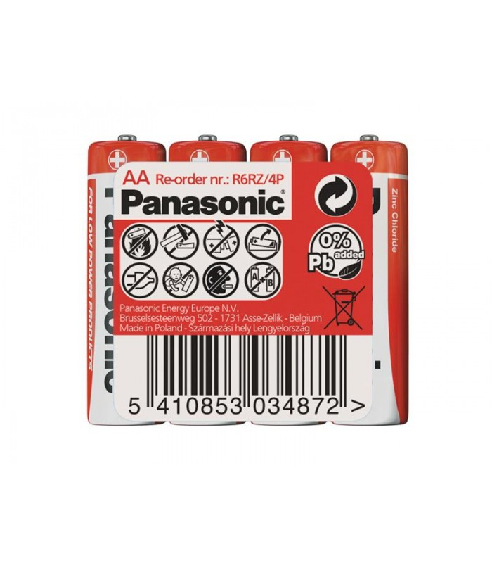 Batéria R6 (AA) Red zinkouhlíková, PANASONIC 4S