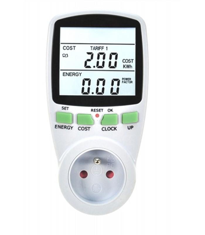 Digitálny merač spotreby elektrickej energie 3680W/16A, 2,8 LCD