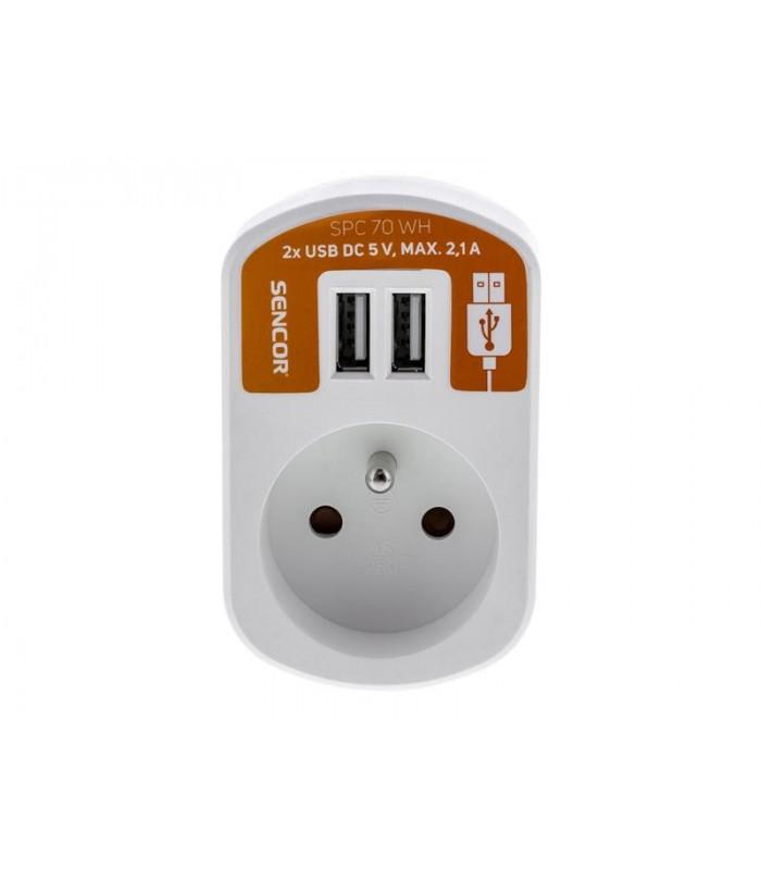 Predlžovací prívod 1 zásuvka, 2x USB, 5V/2100mA SENCOR SPC 70 WH