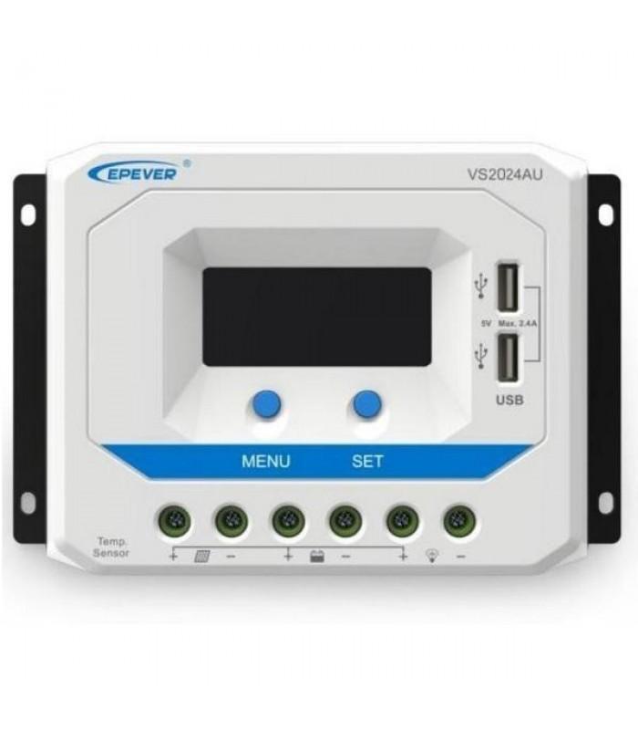 Solárny PWM regulátor 12/24 V, 10 A, USB, vstup 50V (VS1024AU)